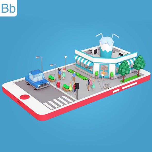 Low Poly Cocktail Cafe on Phone screen