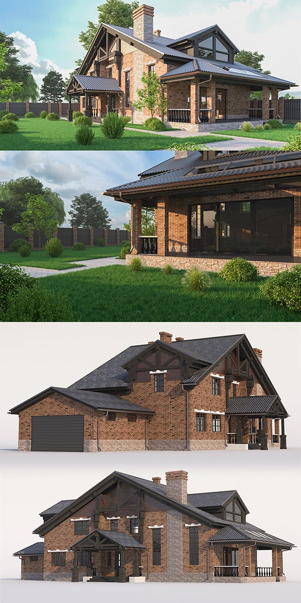 A Chalet house with a garage - 3DOcean Item for Sale