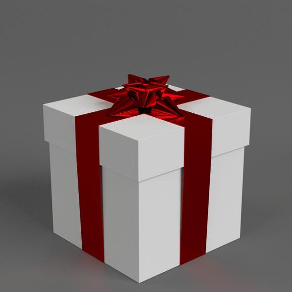 Gift Box with Star Ribbon Bow - 3DOcean Item for Sale