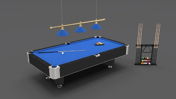 8 Ball Pool Table Setting Blue - 3DOcean Item for Sale