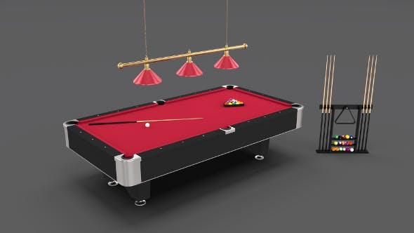 8 Ball Pool Table Setting Red - 3DOcean Item for Sale