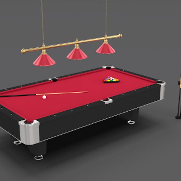 8 Ball Pool Table Setting Red