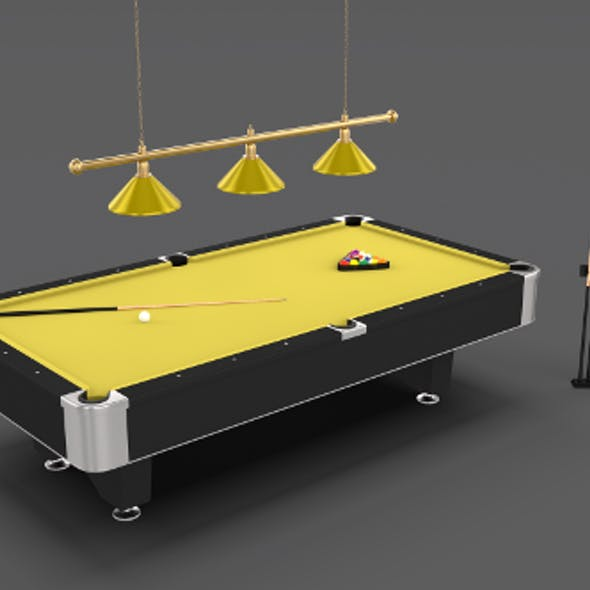 8 Ball Pool Table Setting Yellow