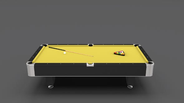 8 Ball Pool Table Yellow - 3DOcean Item for Sale