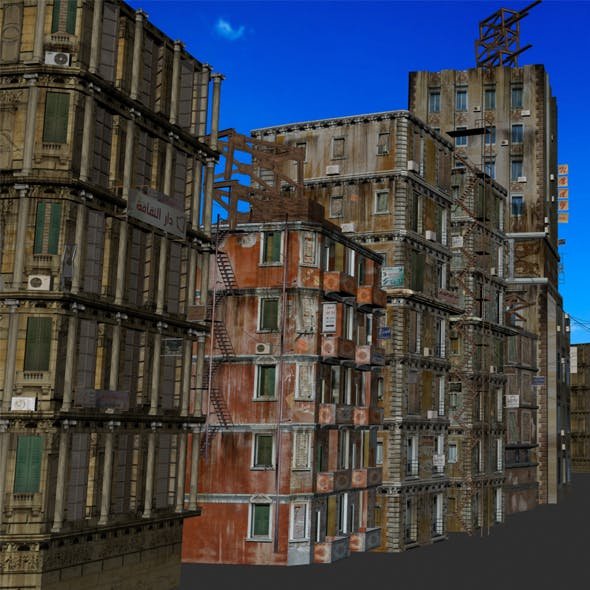 10 low poly old buildings