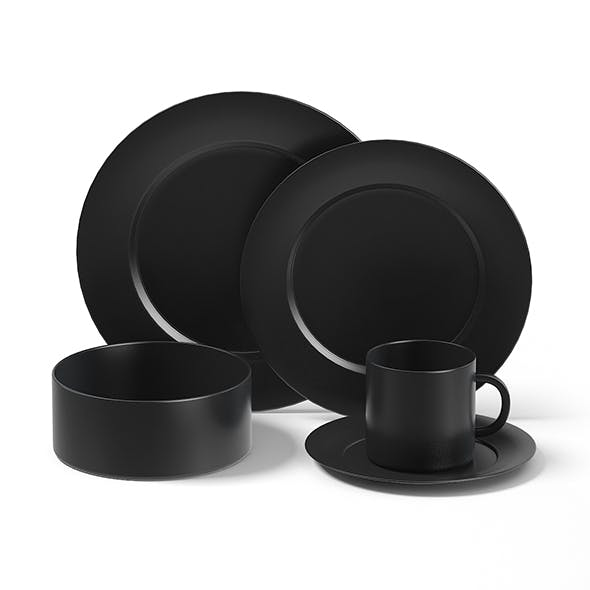 Black Dishes Set 3D Model - 3DOcean Item for Sale