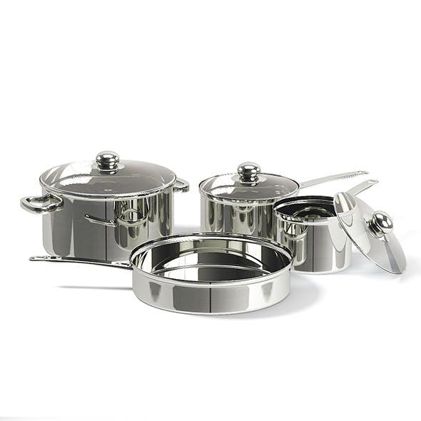 Metal Pots Set 3D Model