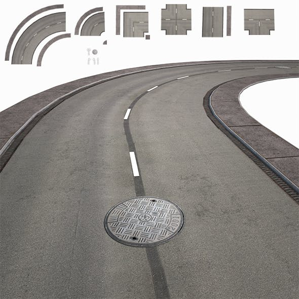 Road Modules PBR Pack - 3DOcean Item for Sale