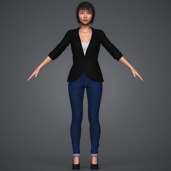 Realistic Young Chinese Girl - 3DOcean Item for Sale