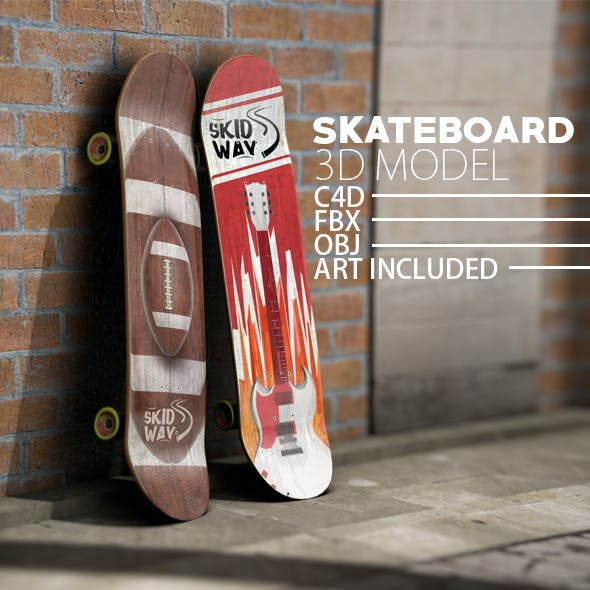 Skateboard Unwrapped 3D Model