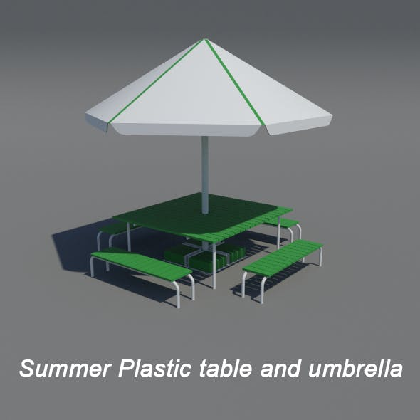 Plastic table and umbrella - 3DOcean Item for Sale