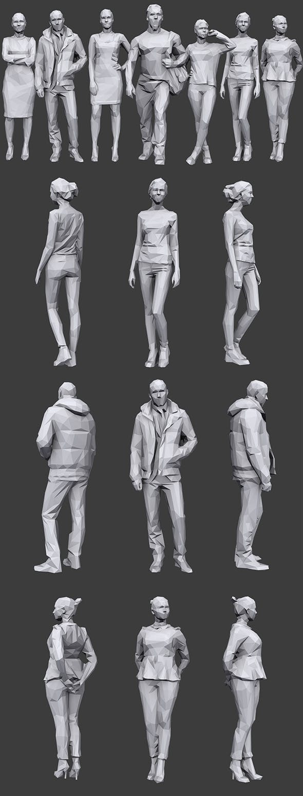 Lowpoly People Casual Pack Vol.13 - 3DOcean Item for Sale