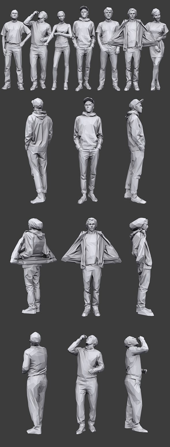 Lowpoly People Casual Pack Vol.19 - 3DOcean Item for Sale