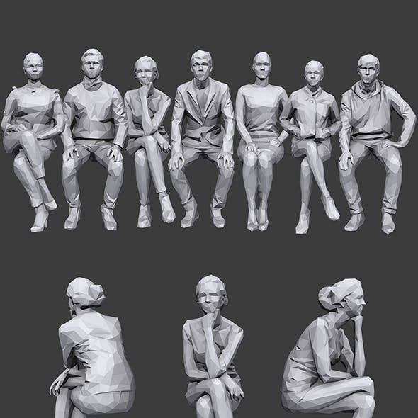Lowpoly Sitting People Pack Vol. 6