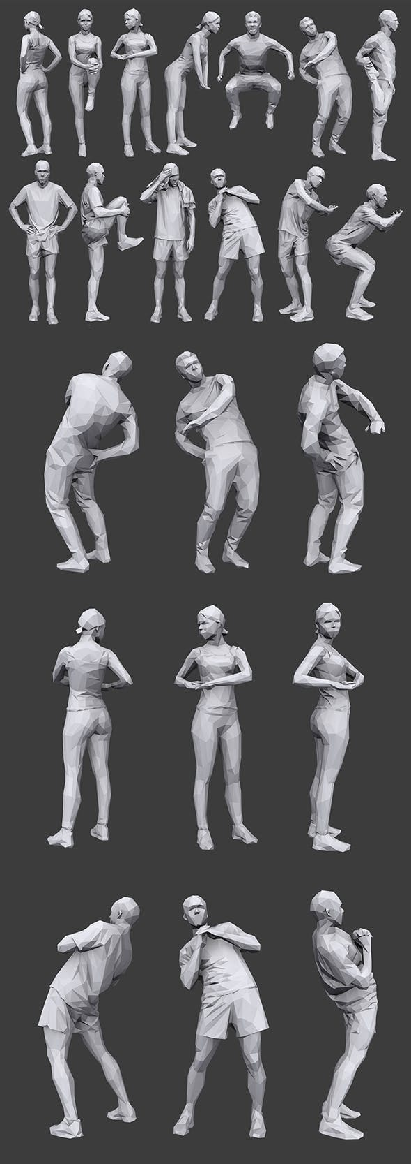 Lowpoly People Fitness Pack - 3DOcean Item for Sale