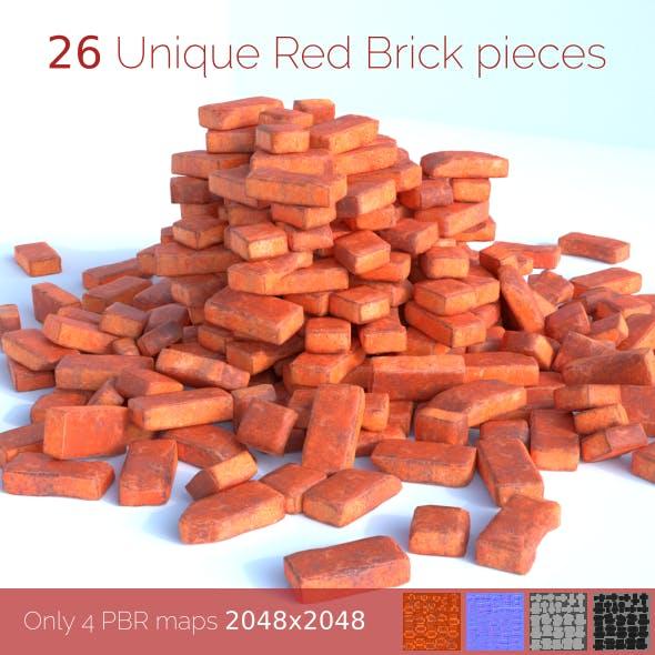 Red Brick SET (unique 26 pieces) - 3DOcean Item for Sale