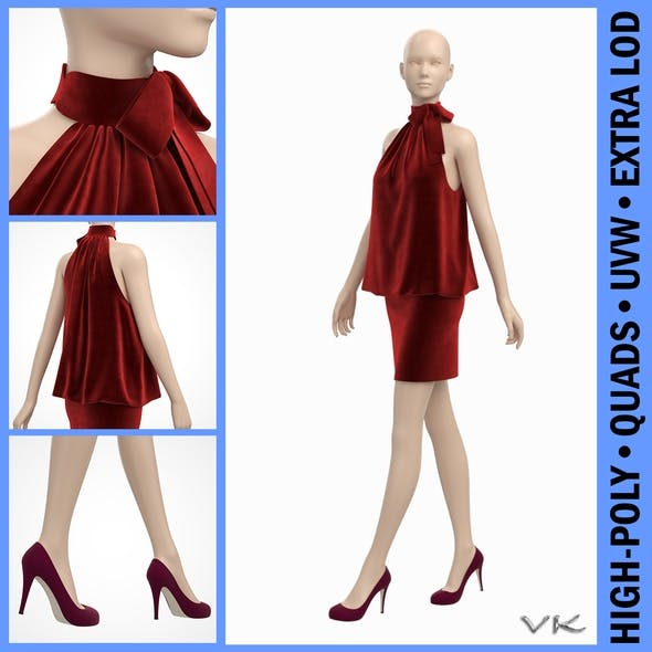 Velvet Cocktail Party Dress on Female Mannequin - 3DOcean Item for Sale