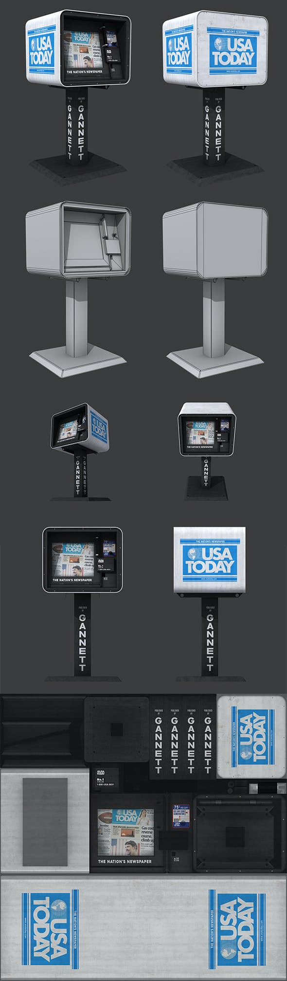 USA Today Newspaper Dispenser - 3DOcean Item for Sale