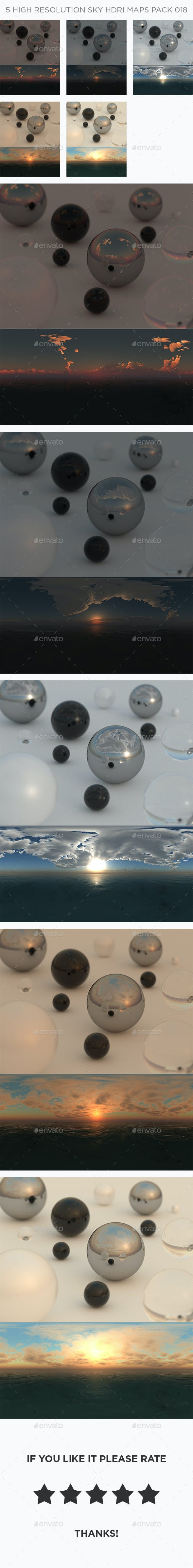 5 High Resolution Sky HDRi Maps Pack 018 - 3DOcean Item for Sale