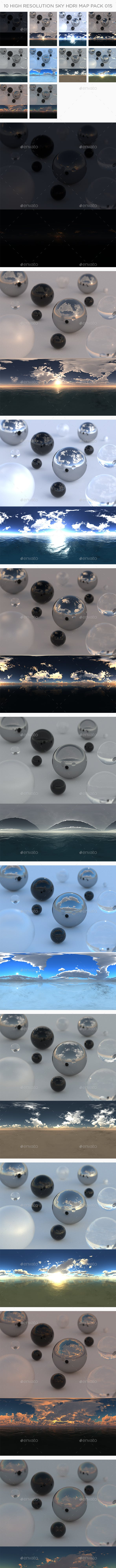 10 High Resolution Sky HDRi Maps Pack 015 - 3DOcean Item for Sale