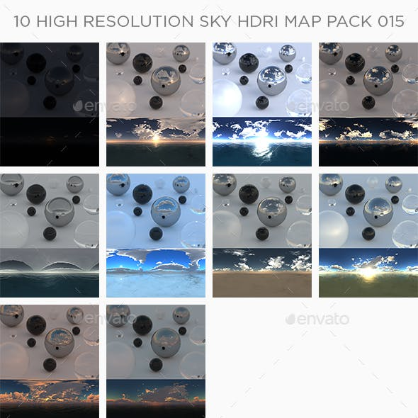 10 High Resolution Sky HDRi Maps Pack 015