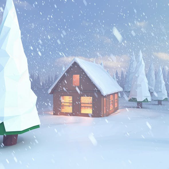 Low poly scene snowy house on the lake