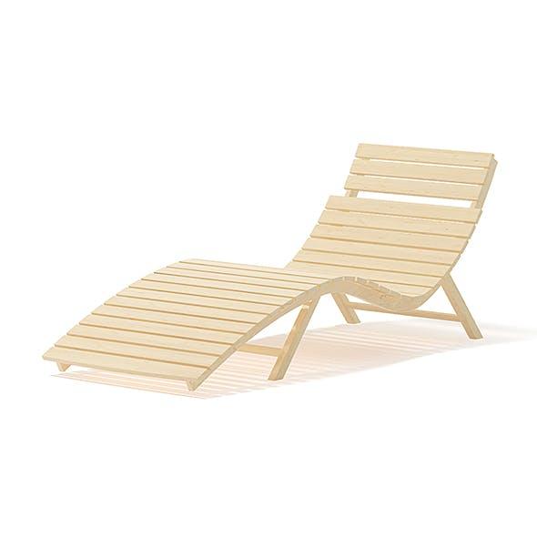 Wooden Deck Chair 3D Model