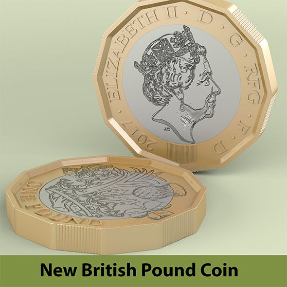 New British Pound Coin - 3DOcean Item for Sale