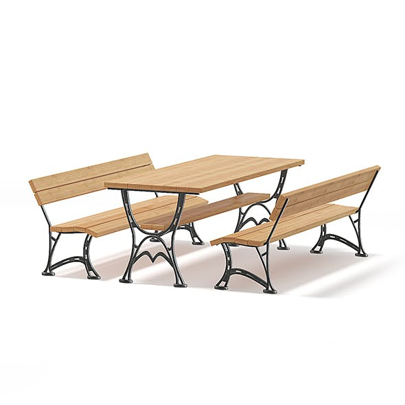 Table and Benches 3D Model - 3DOcean Item for Sale
