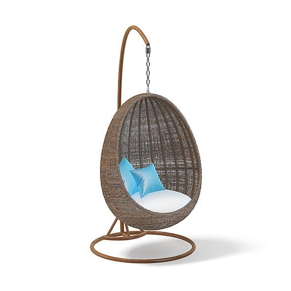 Wicker Hanging Chair 3D Model - 3DOcean Item for Sale