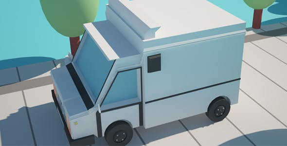 Low Poly Cartoon Truck - 3DOcean Item for Sale