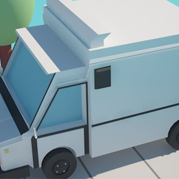 Low Poly Cartoon Truck