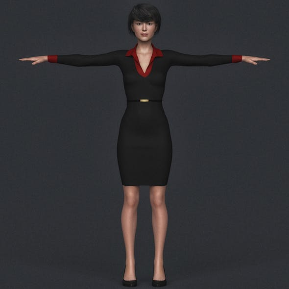 Realistic Asian Business Woman
