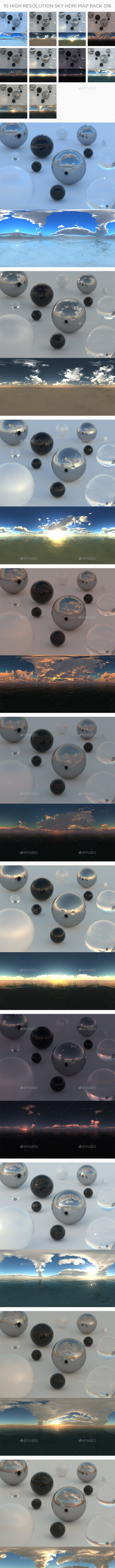 10 High Resolution Sky HDRi Maps Pack 016 - 3DOcean Item for Sale