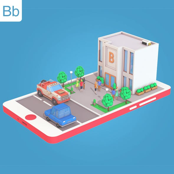 Low Poly Bank on Phone screen