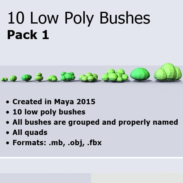 10 Low Poly Bushes Pack