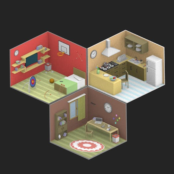 Low Poly Room 2+3+4 - 3DOcean Item for Sale