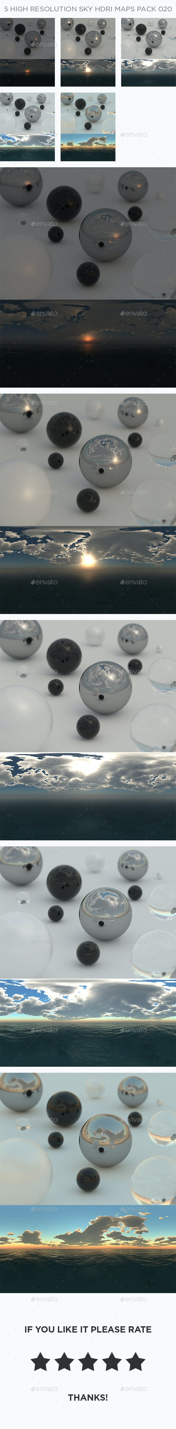 5 High Resolution Sky HDRi Maps Pack 020 - 3DOcean Item for Sale