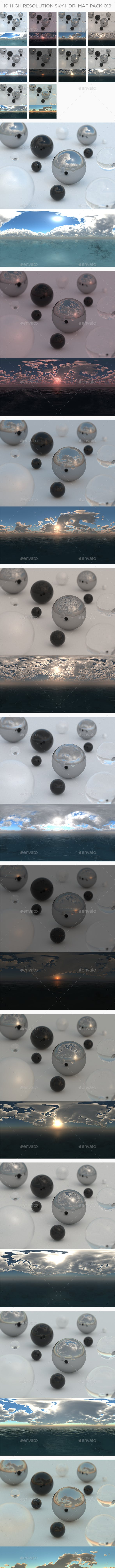10 High Resolution Sky HDRi Maps Pack 019 - 3DOcean Item for Sale