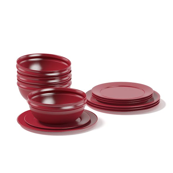 Red Dishes Set 3D Model - 3DOcean Item for Sale