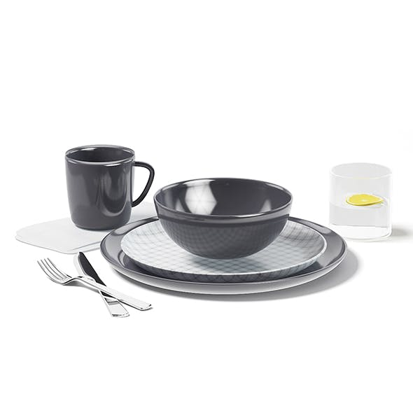 Dishes Set 3D Model - 3DOcean Item for Sale