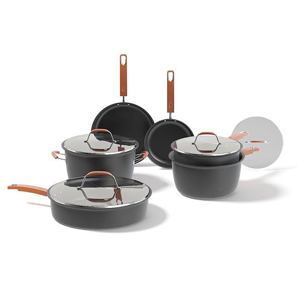 Black Pots Set 3D Model