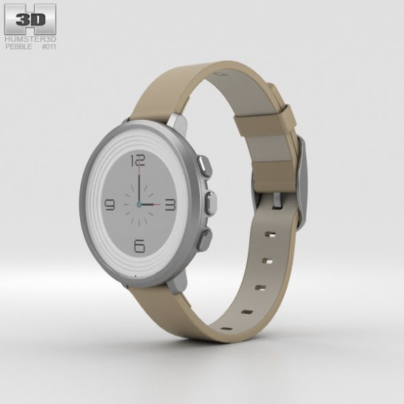 Pebble Time Round 14mm Band Silver With Stone Leather - 3DOcean Item for Sale
