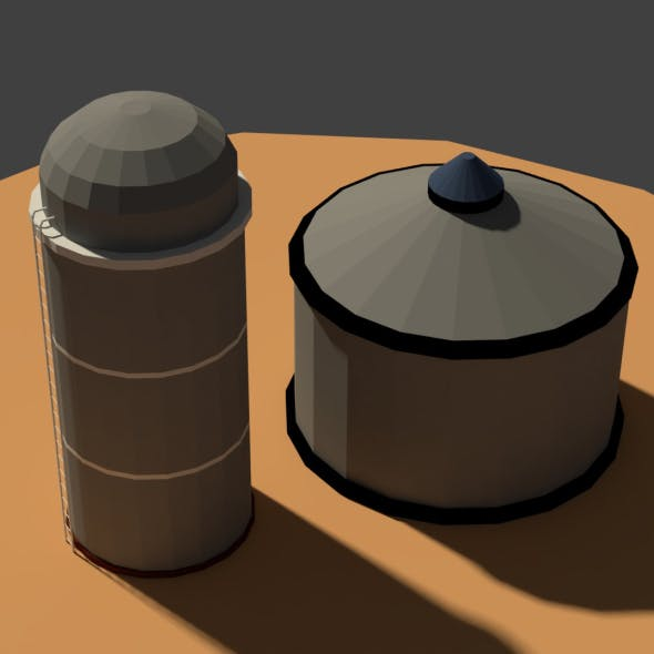 Low Poly Farm Silos