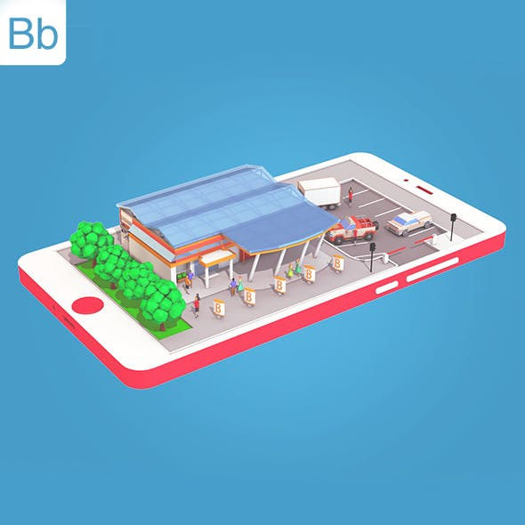 Low Poly Supermarket on Phone screen