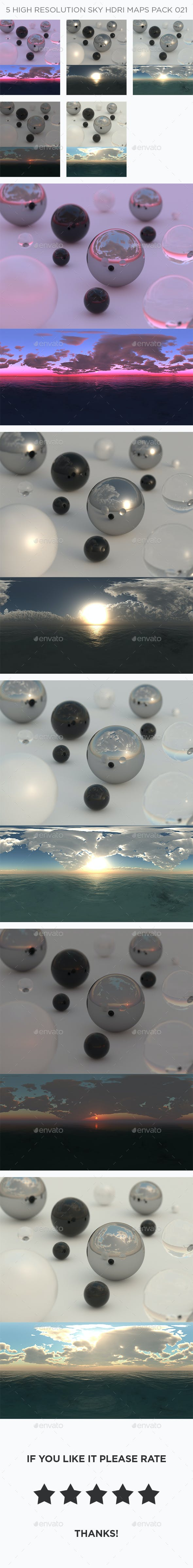 5 High Resolution Sky HDRi Maps Pack 021 - 3DOcean Item for Sale
