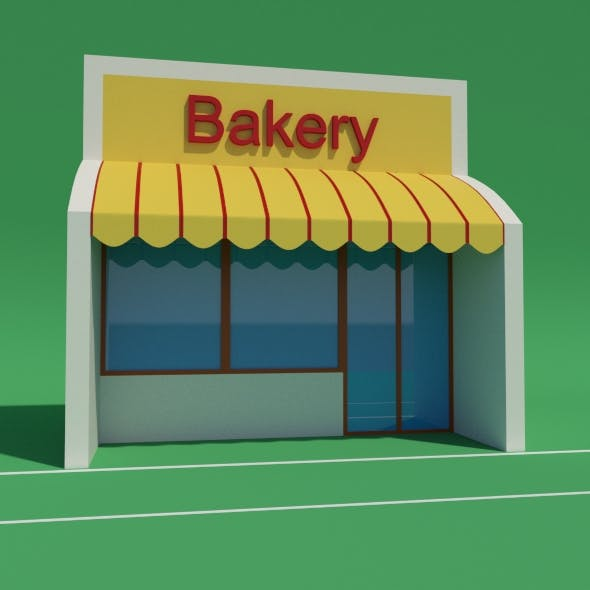 Bakery with awning - 3DOcean Item for Sale