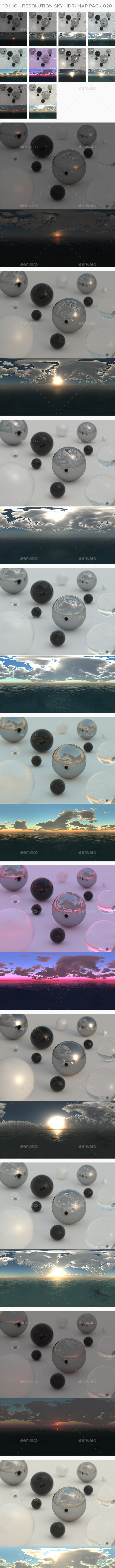 10 High Resolution Sky HDRi Maps Pack 020 - 3DOcean Item for Sale