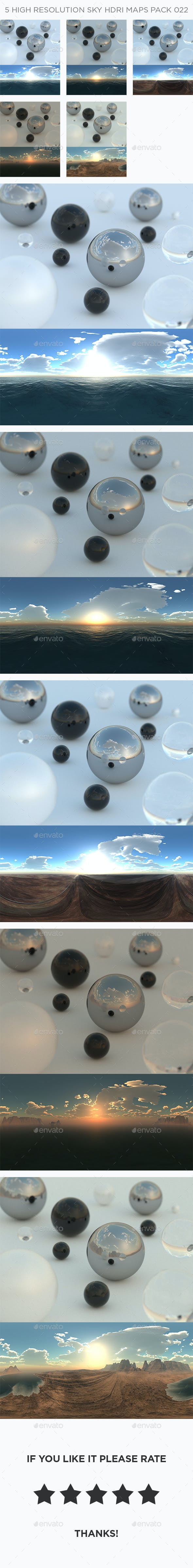 5 High Resolution Sky HDRi Maps Pack 022 - 3DOcean Item for Sale