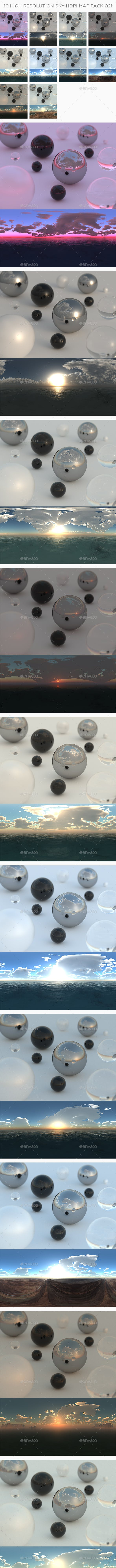 10 High Resolution Sky HDRi Maps Pack 021 - 3DOcean Item for Sale